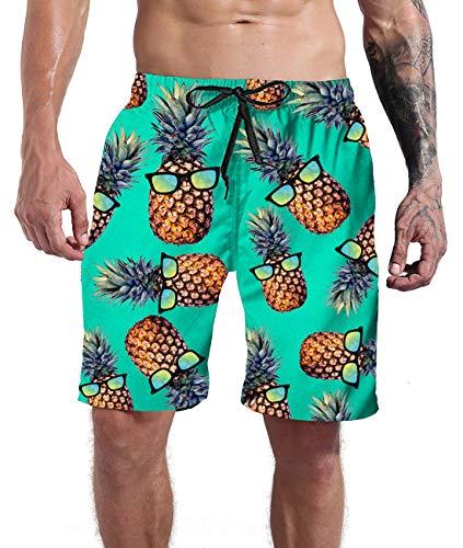 Goodstoworld Men's Pineapple Board Shorts Hawaiian Swim Trunks Vacation Beach Islands Party Bathing Suit Funny Green Graphic Surf Beachwear Pant Swimsuits