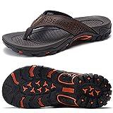 ChayChax Infradito Uomo Scarpe da Spiaggia e Piscina Antiscivolo Sandali Sportivi Pantofole Ciabatte da Mare Gomma Suola per Sostegno dell'Arco,Marrone,43 EU