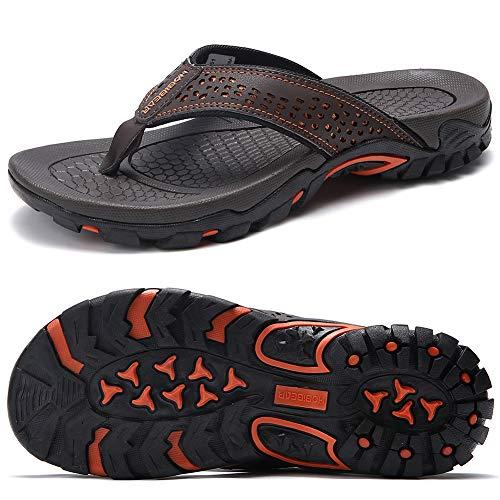 ChayChax Chanclas Hombre Sandalias Deportivo de Playa y Piscina Verano Zapatillas Flip Flops con Suela de Goma,Marrón,42 EU