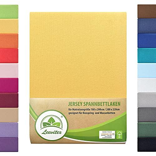leevitex® Farbenfrohes Spannbettlaken für WASSERBETTEN & BOXSPRINGBETT Spannbetttuch Jersey 180 x 200 - 200 x 220 cm, 40cm Steghöhe 100% Baumwolle ca. 170 g/m² (Gelb/Mais)