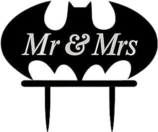 LingStar Bat Monogram Wedding Cake Topper, Mr.&Mrs.Wedding Cake Decor