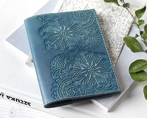 Personalized Leather Passport Cover Holder Case For Women - Teal Blue Passport Cover