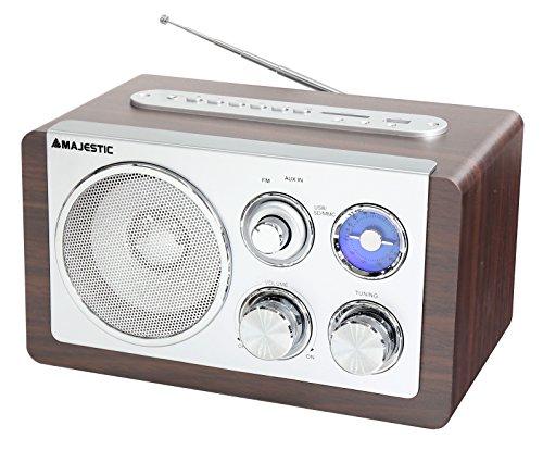 Majestic WR 167 AX USB SD - Radio Vintage Fm, Ingressi Usb/sd/aux-in per Riprodurre Mp3, Marrone e Silver