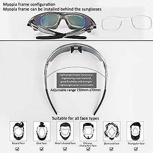 Flintronic Gafas de Sol Polarizadas, Gafas de Ciclismo con 5 Lentes Intercambiables UV400 Bicicleta Montaña, Gafas de Sol Deportivas,100% De Protección UV, Con Caja de Embalaje + Bufanda, Gris Premium