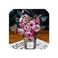 右店ヴィンテージツバキローズウェディングデコレーションブルーム人工花絹の花真珠ract花瓶植木鉢花束を飾るホーム、バイオレット