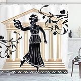 Toga Party cortina de ducha por Ambesonne, griego mujer con ánfora templo y ramas de olivo cultura Folk patrón, cuarto de baño Set de decoración de tela con ganchos, arena marrón negro