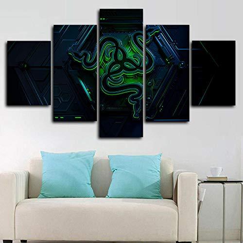 runtooer Bilder Dekorative malerei Spray malerei leinwand malerei 5 stück Razer Gaming Pc-Spieler Leinwand Wandbild, Möbel Art Deco, Rahmen