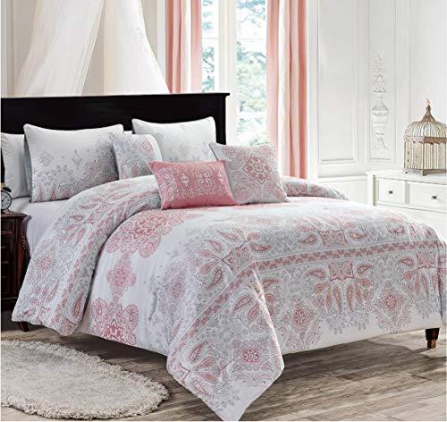 Dovedote 6 Piece Amir Oversized Luxury Bed in Bag Microfiber Comforter Set Queen, Pink (21809_Amir_Q)