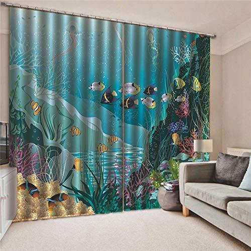 Thermo-gordijn, ondoorzichtig, onderwaterwereld, thermo, modern, voor slaapkamer, keuken, kinderen, verduistering, raamdecoratie