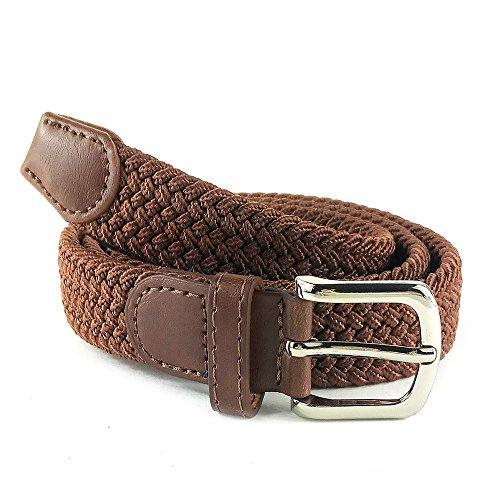 MYB Cintura elastica intrecciata per Donna - altezza 25mm - diversi colori e taglie (105-110 cm, Tabacco)