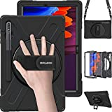 BRAECN Galaxy Tab S7 Plus Case,Galaxy Tab S7+ Case,Heavy Duty Shockproof Case with S Pen Holder Hand Strap Kickstand Shoulder Strap for Samsung Tab S7 Plus 12.4 Inch 2020 SM-T970 SM-T975/T976-Black
