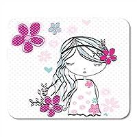 マウスパッド花のある美しいピンクのガーリーなかわいい女の子夏の花のマウスマットマウスパッド