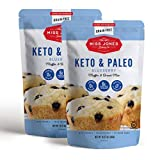 Miss Jones Baking Keto Blueberry Muffin Mix - Gluten Free, Low Carb, No Sugar Added, Naturally Sweetened Desserts & Treats - Diabetic, Atkins, WW, and Paleo Friendly (Pack of 2)