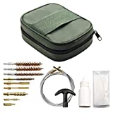 Bumlon Universal Gun Cleaning Kit Set with Bronze Brass Bore Brush Flex Rod Slotted Tip Portable Bag for Rifle Handgun Shotgun Pistol