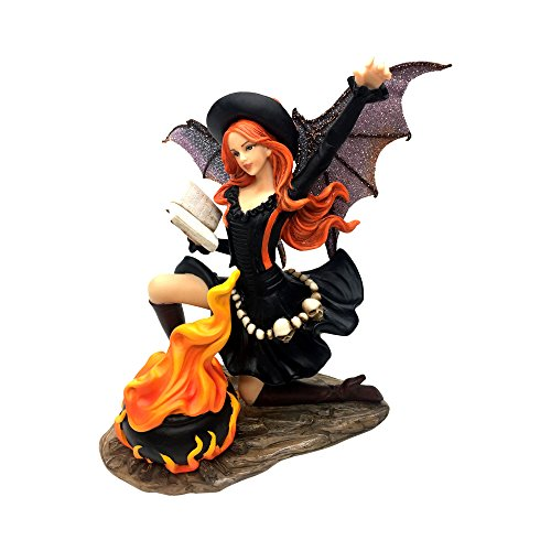 """Comfy Hour Fairyland Collection 7"""" Dark Fairy Witch Cooking Magic Soup Fire Pan Figurine, Halloween Theme Gift, Home Decoration and Collectibles, Polyresin"""