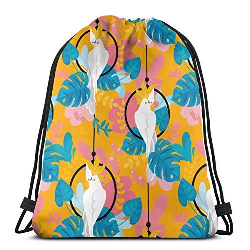 Cockatoo Loro y plantas tropicales entrenamiento Gymsack con correa de cordón, bolsa deportiva para adolescentes, hombres y mujeres, 36,1 x 42,8 cm