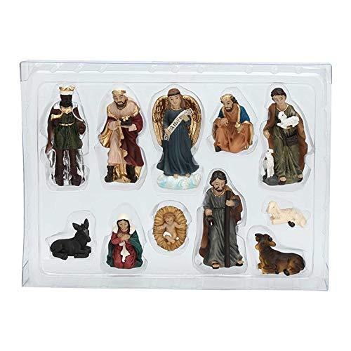 Juego de 11 figuras de Belén de Navidad, Belén de Navidad, San Valentín, guardería de Navidad, en resina, artesanías artísticas