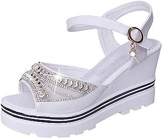 Loosebee◕‿◕ Womens Wedges Sandals,Fashion Women Summer Pumps Platform Sandal Roman Wedges Crystal Peep Toe Sandals