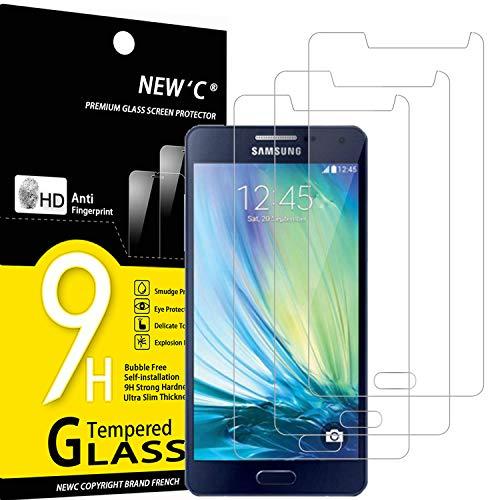 NEW C 3 Unidades, Protector de Pantalla para Samsung Galaxy A5 2015 (SM-A500F), Antiarañazos, Antihuellas, Sin Burbujas, Dureza 9H, 0.33 mm Ultra Transparente, Vidrio Templado Ultra Resistente