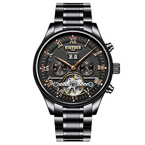 KINYUED - Reloj mecánico Tourbillon para hombre, resistente al agua, automático, con esqueleto