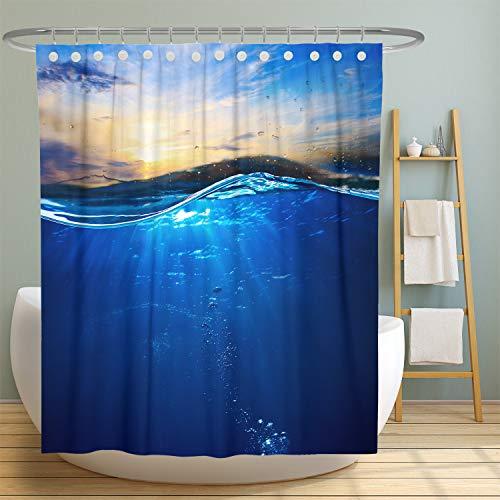 MuaToo Ocean Duschvorhänge, dunkelblauer Himmel Landschaft, wasserdichtes Polyestergewebe, Heim, Badezimmer, Dekoration, Zubehör, Vorhang, maschinenwaschbar, 183 x 183 cm, inklusive Haken