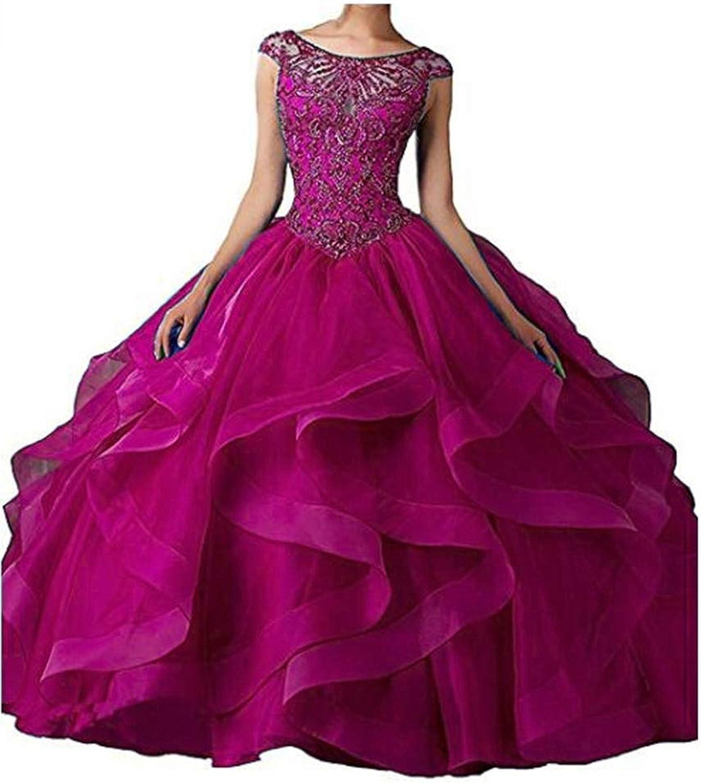 Angela Women's Long Prom Dress Tulle Sweetheart Beaded Quinceanera Dress