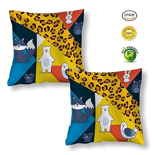 Pillow Cases 2 Pack Silk Cushion Covers 16x16 inches Mosaic-pattern Tiger Leopard Fox Bear Bird for Office, Car, Yoga, Dance, Decorative, Club,Bar, Pub, Coffee House, 40cm x 40cm