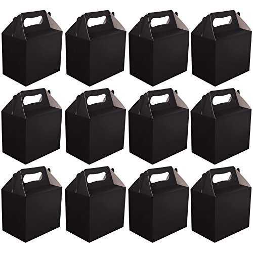 VALUE PACK 12 x Choose Your Colour Paper Lunch / Going Home Present / Picnic Boxes (Black) by My Planet