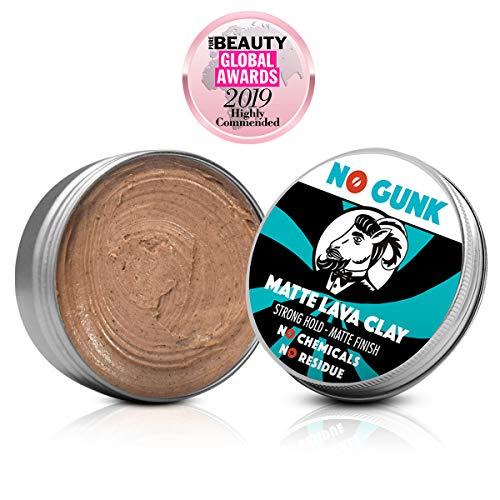 NO GUNK Argile Pâte Cire Coiffante Bio 100% Naturelle pour Cheveux Homme - Tenue Forte - Effet Mat - Matte Lava Clay (Non parfumée, 50g)