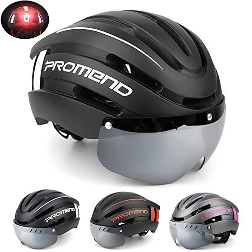 ILYO Cycle Helmet for Men and Women, Bicycle Helmet with Removable LED Light Magnetic Goggles Mountain and Highway Bike Helmet Adjustable Size Removable and Washable Lining,White