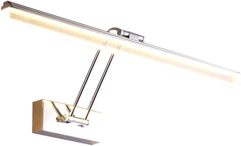 Oudan LED-Spiegel-Frontlicht-Badezimmer-Toilette-Moderne Einfachheit Spiegelkabinett-Lichter Edelstahlacryl-Verfassungs-Spiegel-Wand-Lampe (Farbe  Warmes Licht-45cm9w) (Farbe   Warm Light-45cm9w)