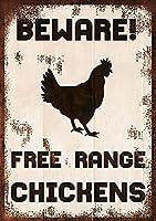 2個 放し飼いの鶏に注意してください金属錫サイン警告レトロヴィンテージサインドライブゲートファームレトロホームバーパブカフェハンギングアートワークプラークウォールアート装飾サインアウトドアリビングヤードサイン8X12インチ メタルプレート レトロ アメリカン ブリキ 看板