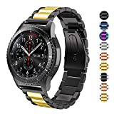 DEALELE Band Compatible with Galaxy Watch 46mm, 22mm Solid Stainless Steel Metal Strap Replacement for Samsung Gear S3 Frontier/Classic/Huawei Watch GT2 46mm Women Men (Black/Gold)