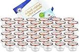 MamboCat 48er Set Weck Gläser 80ml Sturzgläser mit 48 Glasdeckeln, 48 Einkochringen und 96...