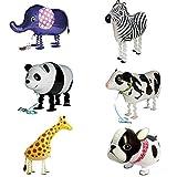 Signstek Globo de papel de aluminio para mascotas Globos Airwalker para niños Decoración de fiesta de cumpleaños Juguete de regalo 6 Piezas Bulldog Jirafa Cebra Elefante Panda Vaca