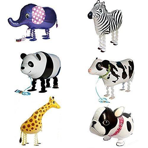 Signstek Tier Folienballon Haustier Ballons Air Walker Ballons für Kinder Geburtstag Party Dekoration Spielzeug Geschenk 6 Stück Bulldogge Giraffe Zebra Elefant Panda Kuh