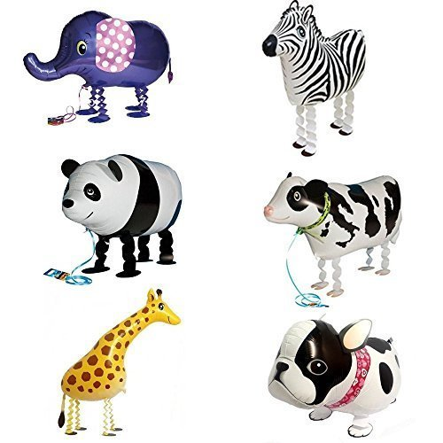Signstek Tier Folienballon Haustier Ballons Air Walker Ballons für Kinder Geburtstag Party Dekoration Spielzeug Geschenk 6 Stück Bulldogge Giraffe Zebra Elefant Panda Kuh