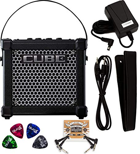 Roland MICRO CUBE GX 3 Watt Guitar Amplifier with Built-In Chromatic Tuner (Black) Bundle with 2-Pack of Blucoil Pedal Patch Cables, and 4-Pack of Celluloid Guitar Picks