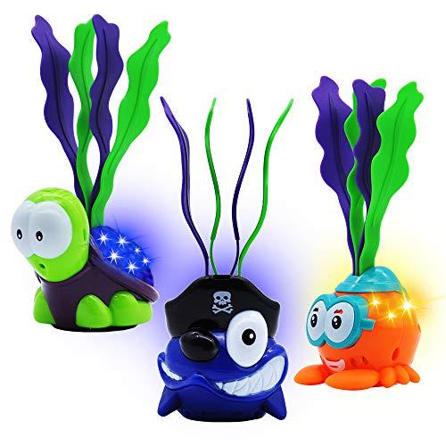 JOYIN Leuchtendes Tauchspielzeug Set mit 3 Tauchen Spielzeug Tiere zum Tauchen Lernen für Kinder Jungs Mädchen, Unterwasser Pool Spielzeug Set, Tierförmiges Schwimmbad Spielzeug, Tauchbälle.