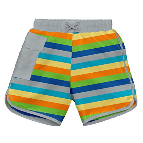 i play. Toddler Boys' Striped Pocket Board Shorts with Built-In Swim Diaper, Gray Multistripe, 3T