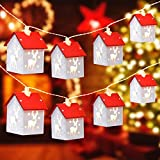 Christmas Lights, 15 Pcs Christmas Elk Wooden House String Lights 15 ft 30 LED Fairy Lights Battery Operated for Xmas Garden Patio Bedroom Party Christmas Tree Decor Indoor Outdoor Lighting