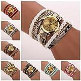 XKC-watches Relojes de Mujer, Relojes Reloj de Pulsera del Grano del Leopardo de Lujo Tejida Marca de Cuarzo de Las Mujeres (Colores Surtidos) c&d-120 (Color : Rosa, Talla : Una Talla)