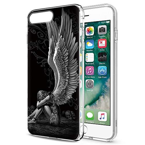 Pnakqil Funda iPhone 8 Plus / 7 Plus, Silicona 3D Transparente con Dibujos Diseño Slim Suave TPU Antigolpes Ultrafina de Protector Piel Case Cárcasa Fundas para Apple iPhone 8Plus, Chica ala