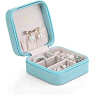 Vlando Small Faux Leather Travel Jewelry Box Organizer Display Storage Case for Rings Earrings...