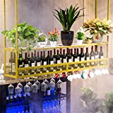 AERVEAL 2 - Tier Ceiling Wine Racks Metal Black Hanging Wine Cup Display Stand Dish Drainers Under-Cabinet Stemware Rack Organizer Cocktail or Champagne Flutes for Kitchen Bar Pubs or Restaurants Rac