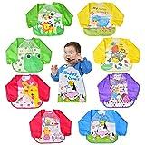 Cozywind 8 Pack Wasserdicht Ärmellätzchen abwaschbar Lätzchen mit Ärmeln Babylätzchen für 2-5 Jahre Kinder Kleinkinder Mädchen Jungen