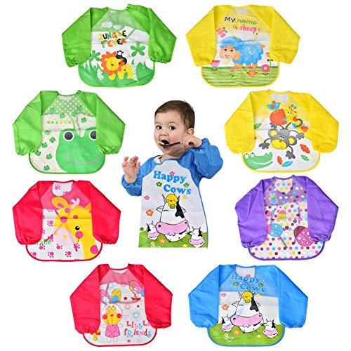Bavoir à Manches Longue Paquet de 8 bavettes avec couche imperméable convient pour bébé avec des Dessins de 6 mois à 3 ans