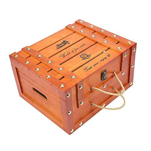 Amuzocity Caja de Vino Tinto de Madera Vintage, Regalo de General para 6 Botellas, Arte Artesanal