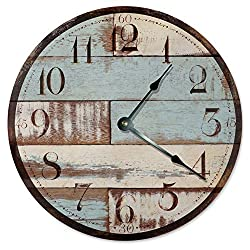 Sugar Vine Art Old Wood Board Silent Non Ticking Round Battery Operated Handmade Hanging Large10.5 Inch Wall Clock for Bedroom Office Cottage Decoration
