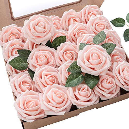 Floroom Artificial Flowers 25pcs Real Looking Blush Foam Fake Roses with Stems for DIY Wedding Bouquets Bridal Shower Centerpieces Party Decorations